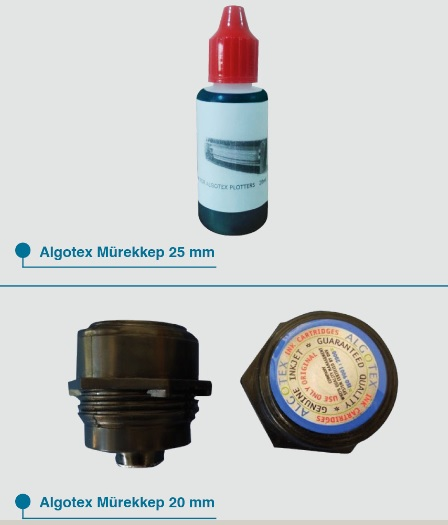 Algotex kartuş 25mm ve mürekkep 20mm